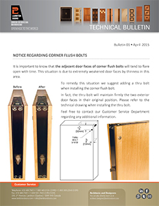 LAMBTON DOORS - Technical Bulletin - Corner Flush Bolts
