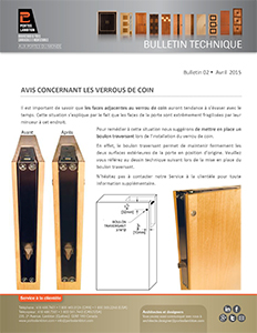 PORTES LAMBTON - Bulletin Technique - Verrous de coin